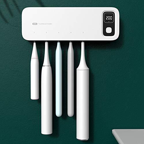 BANJILI-Portaspazzolino Elettrico UV Sterilizzatore Ricaricabile con Mini Ventilatore Funzione Asciugatura Dispenser Dentifricio Porta Spazzolino da Denti per Oral-B LED Display Termometro