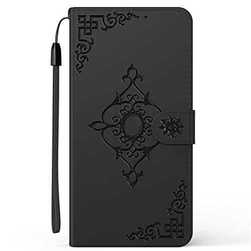 Blllue Capa carteira compatível com Motorola E5 Play, capa floral diagonal para Moto E5 Play - preta