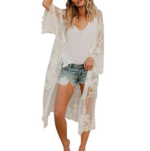 Clode Frauen-Spitze-böhmischer Strand-Langer übergroßer Kimono-Mantel (Weiß)