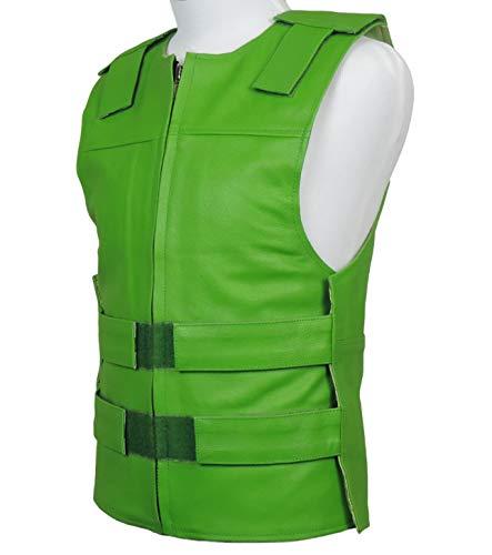 Kawasaki Green Leather - Bulletproof Style Motorcycle Vest (5XL)