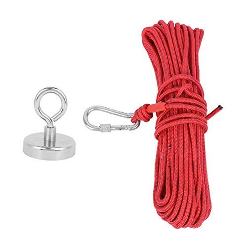 Ladieshow Anzuelo magnético Imán de pesca Caza de río Anillo único Antióxido 362 lb N35 + Cuerda roja de 20 metros