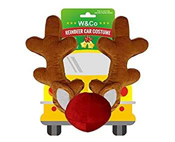Win&Co Car Reindeer Christmas Decoration Antlers & Nose Costume Reindeer Christmas Car Character Kit Party Accessory 2020 Version