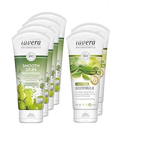lavera Bio-Grüner Kaffee Körperpeeling und Bodymilk Set 6tlg. mit Straffende Bodymilk und Smooth Skin Dusch-Peeling