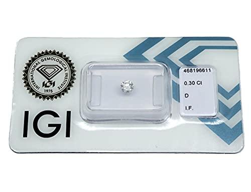 Diamant 0,30 ct/Karat, Farbe: D, Reinheit: IF, Schliff/Glanz/Symmetrie: EXCELLENT. IDEAL CUT/EXCELLENT/EXCELLENT, IGI Zertifikat