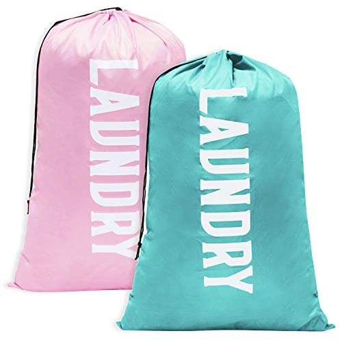 Fiodrmy 2 Pack XL Travel Laundry Bag, Machine Washable Dirty Clothes Organizer, Large Enough to Hold 4 Loads of Laundry, Easy Fit a Laundry Hamper or Basket (Light Pink+Blue, 24' x 36')