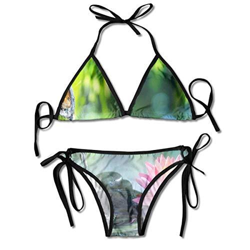 Conjuntos de Bikini para Mujer Impresos Flor de Loto del jardín, Traje de baño de la Playa del Traje de baño del triángulo Negro