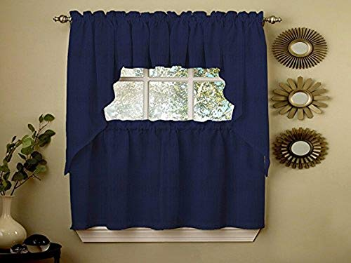 """Sweet Home Collection Opaque Rib Cord Kitchen Curtains Pair, 24"""" Tier, Ribcord Navy"""
