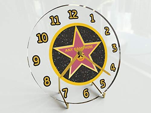 FanPlastic Wanduhr mit Stechpalmen-Motiv, personalisierbar, 30,5 x 30,5 x 5,1 cm !, Hollywood Walk of Fame Uhr - Emoji Star Edition