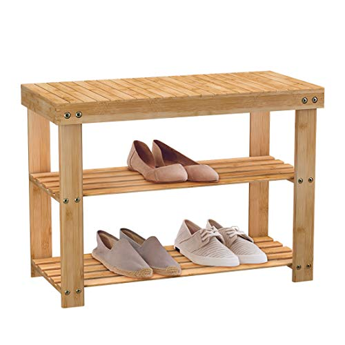 Schuhregal Schuhbank Schuhschrank Schuhablage Holz mit Sitzbank 3 Ablagen aus Bambus Natur