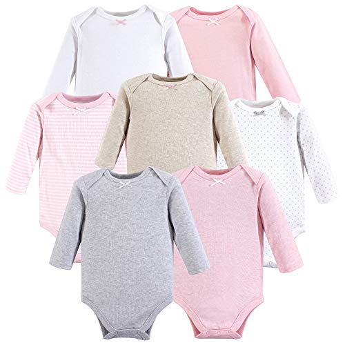 Hudson Baby Unisex Baby Cotton Long-Sleeve Bodysuits, Girl Basic, 3-6 Months