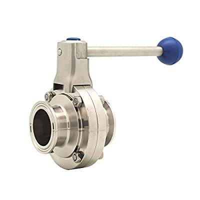 """QiiMii Sanitary Stainless Steel 304 Tri Clamp Butterfly Valve with Pull Handle and Silicone, 2"""" Tube OD by Wenzhou QiMing Stainless Co.,Ltd"""