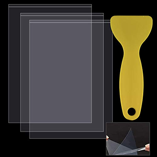ABOAT SLA/LCD FEP Film 200 x 140 x 0.15 mm FEP Release Film for Photon Resin 3D Printer, with 1 Piece Replacement Plastic Spatulas Scraper (3, 200 x 140 x 0.15 mm)