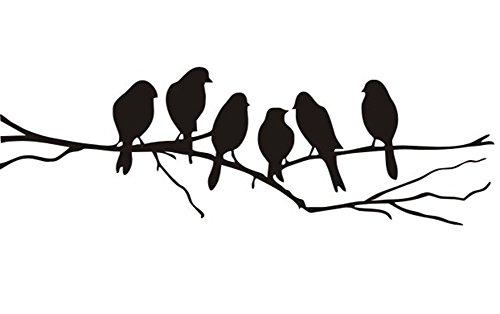 JUNGEN Sticker Autocollant Mural Studio Branches Oiseaux Vinyle Wall Decal 26cmx85cm pouces 1pcs