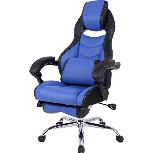 山善 オフィスチェア ゲーミングチェア フットレスト 一体型 クッション 付き リクライニング 無段階170度 ブラック/ネイビーブルー MFR-89(NBL)