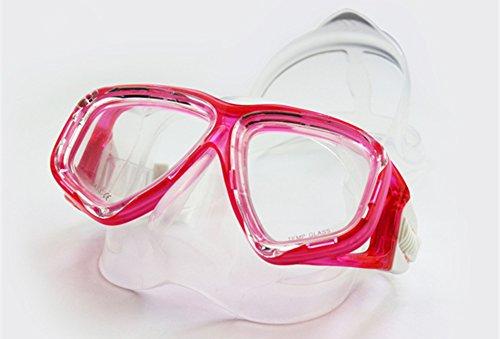 WOWDECOR Máscara de Buceo para Adultos y niños con visión Corta, máscara de Buceo, corrección de dioptrías, Color Rose Rot, tamaño -4,0