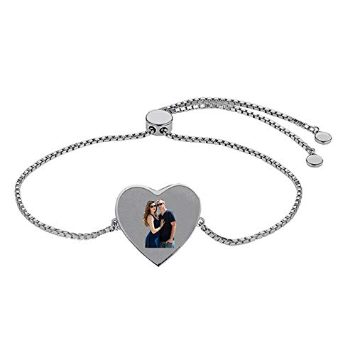 Collar De Plata Con Foto De Corazón Con Mensaje De Amor Texto Personalizado Brazalete Ajustable Día De La Madre Cumpleaños Aniversario Collar Pulsera Para Mujeres Y Niños(Silver-8.3')