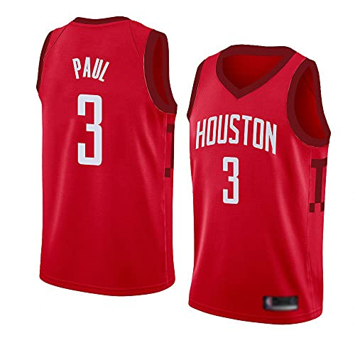 Wo nice Jerseys De Baloncesto De Los Hombres, Houston Rockets # 3 Chris Paul Uniformes De Baloncesto De La NBA Casual Camisetas Sueltas Camisetas Transpirables,Rojo,M(170~175CM)