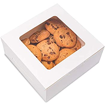 Juvale Pastry Box with Window  6 x 6 x 2.5 in White Pack of 50