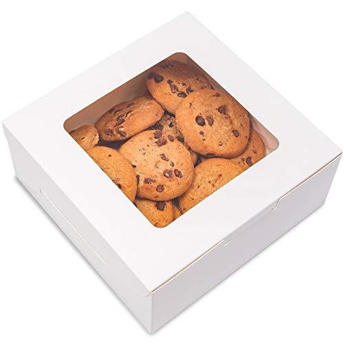 Juvale - Caja de pastelería con ventana (6 x 6 x 2,5 pulgadas, 50 unidades), color blanco
