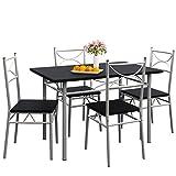 Casaria Conjunto de 1 Mesa y 4 sillas Paul Muebles de Cocina y de Comedor Negro Mesa MDF Resistente...