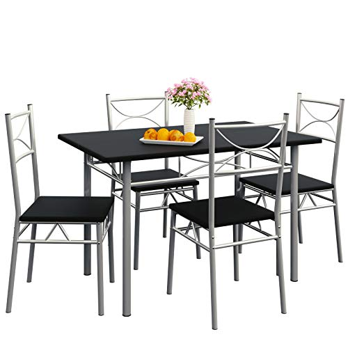 Casaria Set Tavolo e 4 Sedie da Soggiorno Nero 5 pz Arredamento Salone Cucina Sala da Pranzo mobili per Cucina Moderno