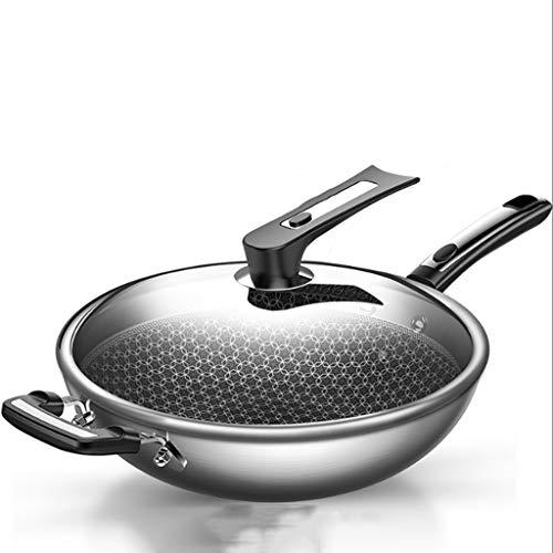 ECSWP Wok - antiadhésif 304 Cuisinière à Induction en Acier Inoxydable Cuisinière à gaz for la Cuisson sans fumée Smokeless ménages Multi-Fonctions