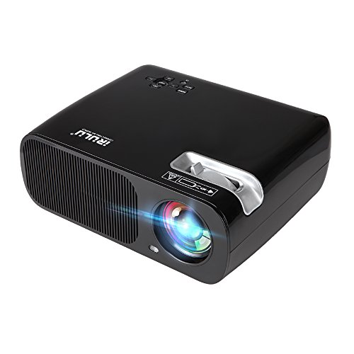 "Projector, iRULU Android Wi-Fi Smart Video Projector Portable Home Theater LED HD 1080P Cinema Max 200"" Wi-Fi Wireless Video Projector (USB HDMI VGA TV AV) (Black bl20)"