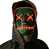 Halloween Mask Cosplay LED Glow Scary EL Wire Light Up Grin Masks for Festival Parties Costume (Light up mask for Red)