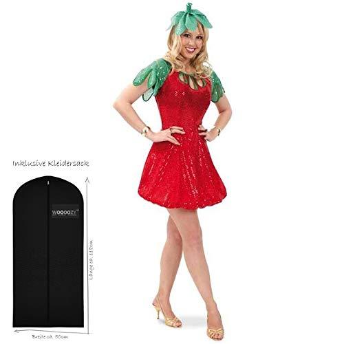 WOOOOZY Damen-Kostüm Erdbeere, Kleid mit Hut, Gr. 42 - inklusive praktischem Kleidersack