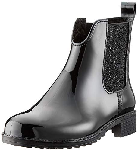 Rieker Damen Chelsea Boots P8280,Frauen Stiefel,Halbstiefel,Stiefelette,Bootie,Schlupfstiefel,gefüttert,Winterstiefeletten,Blockabsatz 3.6cm,schwarz/schwarz/schwarz, EU 41
