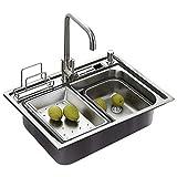 Homelavafans évier inox de cuisine à un 1 bac en acier inoxydable 304 avec deux plaques de filtre à eau encastrable cuve pour cuisine (sans robinet )
