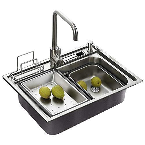 450mm rubinetto non incluso HomeLava Lavello in acciaio inox 304 Spazzola Vasca Singola lavello lavaggio lavandino 650