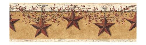 York Wallcoverings Best of Country Hanging Star Border, Mustard/Cream
