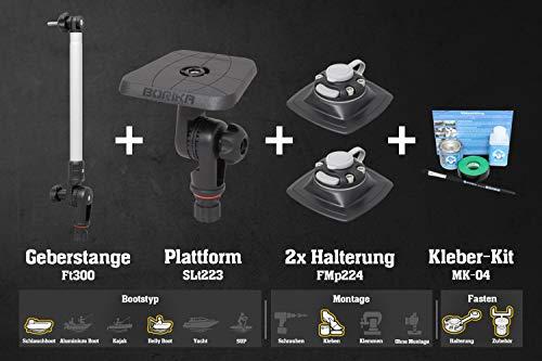 Set: Geberstange + Plattform + 2 x Halterung (110x110mm) + Kleber-Kit Bellyboote, Farben:schwarz/alu-Silber