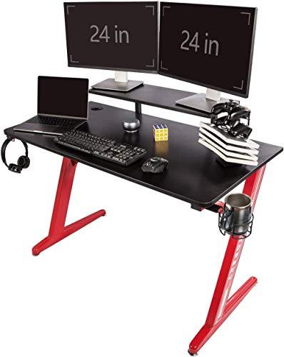 Escritorio para Juegos Mesa de Juegos para Oficina en casa con Soporte para Vasos Gancho para Auriculares Pata en Forma de Z (120 * 60 cmRojo)