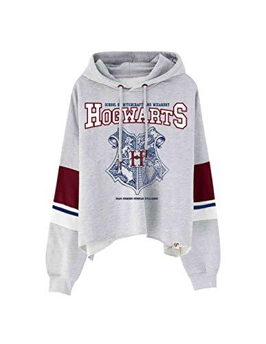 Harry Potter Damen Crop Hoodie Hogwarts School Wappen mit Kapuze grau - L