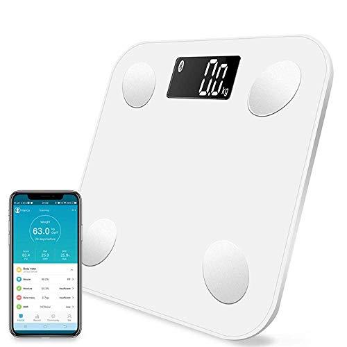 BINGFANG-W Discs Waage Bluetooth Waage, Bodenkörpergewicht Personenwaage, Smart-Backlit Display-Skala, Körpergewicht, Körperfett, Wasser, Muskelmasse, BMI, 180Kg, Weiss Abrasive
