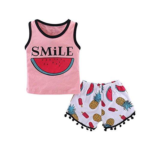 QinMM Conjunto de Camiseta de Sandía Tops + Pantalones Cortos para Bebé Niñas, Camisa Sin Mangas de Verano