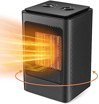 Space Heater, Portable Electric Oscillating Heater with Over-Heat Protection and Tip-Over Protection, 1s Quick Heating, Small and Quiet, Suitable for Office Home Use