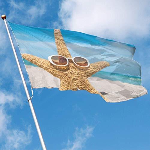 LAKILAN Estrella De Mar con Gafas De Sol 150X90Cm Banner,Decorativo Al Aire Libre,Banderas De Vacaciones,Bandera Brisa,Banderas De Jardín,Garden Decoration Flag