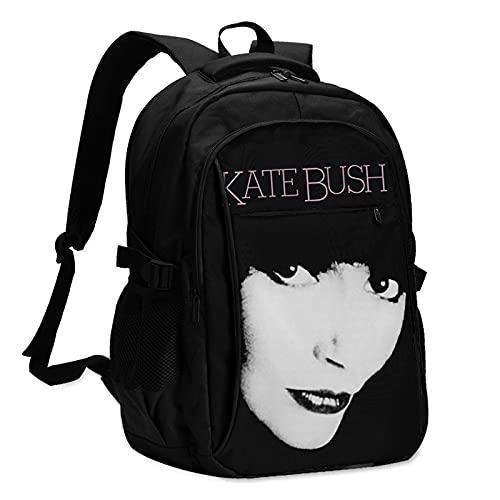 QDGERWGY Kate Bush - Mochila de viaje para exteriores, resistente al agua, mochila de viaje con puerto de carga USB/auriculares