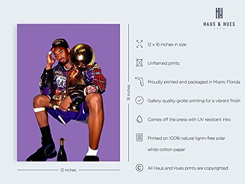 "Kobe Bryant Wall Art Kobe Art - By Haus and Hues Kobe Wall Art Kobe Bryant Poster Posters Kobe Bryant Black Mamba Poster Kobe Bryant Memorabilia Basketball Poster UNFRAMED 12"" X 16"""