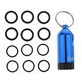 CUTICATE Kit de Mini Botella de Buceo de Aluminio con 12 Anillos en O y Llavero de Buceo - Azul