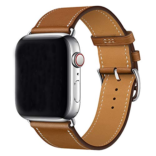 XCool Compatible avec Bracelet Apple Watch 38mm 40mm, Cuir Marron Single Tour Bande de Remplacement pour iwatch Se Series 6 Series 5 Series 4 Series 3