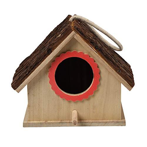 Rameng-maison à Oiseaux Nichoir à Suspendre en Bois Nid pour Oiseaux Mésanges en Bois Extérieur Décoration Jardin Terrasse ou Balcon