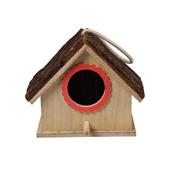 MyCozy Wooden Hanging Bird Nest House for the Garden Wild Bird Nest Box Unique Novelty Bird Nesting Box Garden Decorations Bird Hotel Cabin for Wild Birds