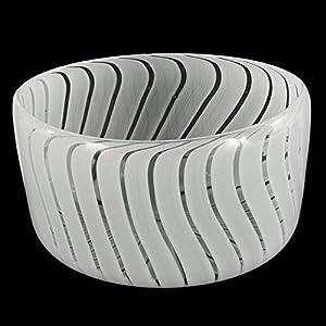 Jarrón cuenco de cristal de Murano, tonos blancos y transparentes, soplado a boca, auténtico, pieza de horno veneciana con certificado