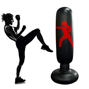 Kids Inflatable Punching Bag with Stand 63.3inch Kickboxing Punching Bags for Child Immediate Bounce-Back ninja Boxing Bag for Practicing Karate Taekwondo MMA Portable Girls Boys Focus Punching Bag