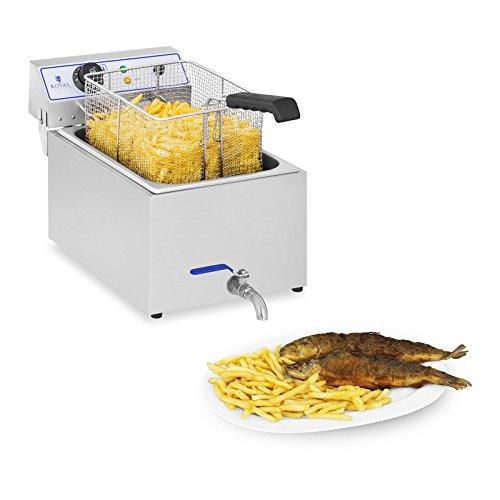 Royal Catering RCEF 15E Friggitrice Professionale Friggitrice Elettrica (17 L, 3.000 W, Termostato, Intervallo della temperatura 60-200 °C, Rubinetto di scarico) Acciaio Inox