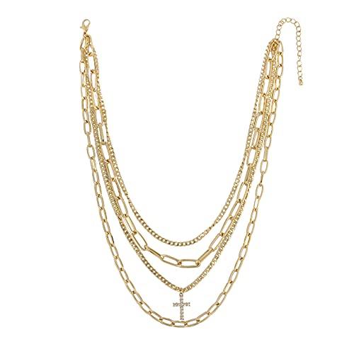 Goldkette Herren Mehrschichtige Kreuz Kette Halskette AnhäNger, Handgefertigt 18k Gold Plattiert Choker Halskette Herren Hip Hop Herren Kette, Personalisierter Geschenk